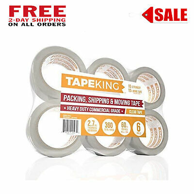 Clear 2 Mil Packing Tape 6 Rolls Heavy Duty Shipping Mailing 2 Inch 6pc Lot Bulk