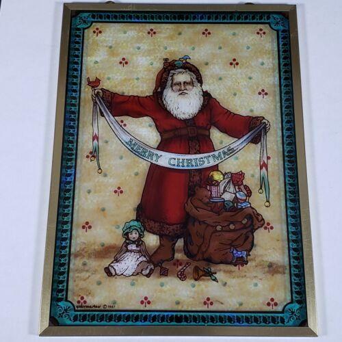 Glassmasters 1987 Merry Christmas Old World Santa Glass Sun Catcher Wall Decor