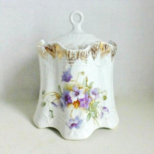 Antique Victoria Carlsbad Austria Floral Biscuit Jar Ca. 1891-1918