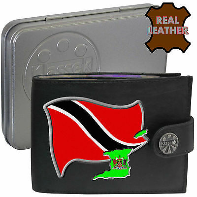 TRINIDAD TOBAGO Klassek Mens Leather Wallet TRINIDADIAN Flag map gift Metal Box