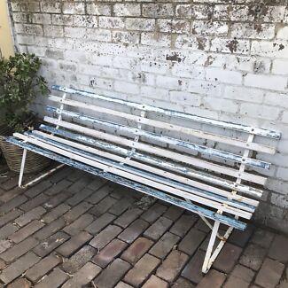 Rustic coastal slatted timber vintage garden bench