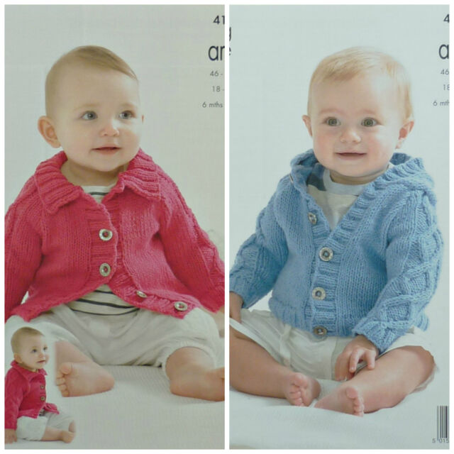 KNITTING PATTERN Baby Cable Jacket & Cable Hoodie Jacket Aran King Cole 4138