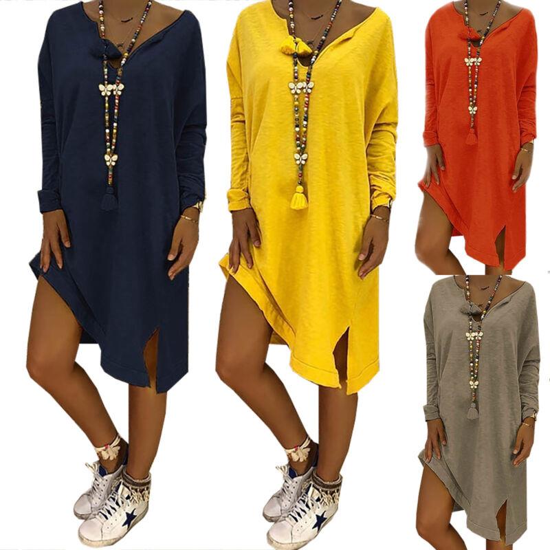 Damen Lose Langarm Kleid Shirtkleid Longshirt Tunika Party Sommerkleid Übergröße