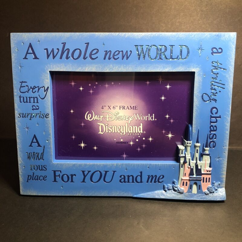 Disney Parks A Whole New World For You and Me Picture Photo Frame 4x6b Blue
