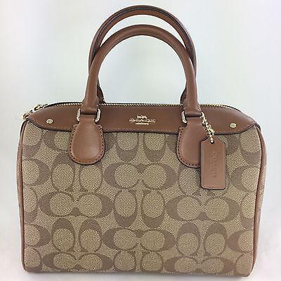 New Coach F58312 Mini Bennett Satchel Handbag Purse Shoulder Bag PVC Khaki/Saddl