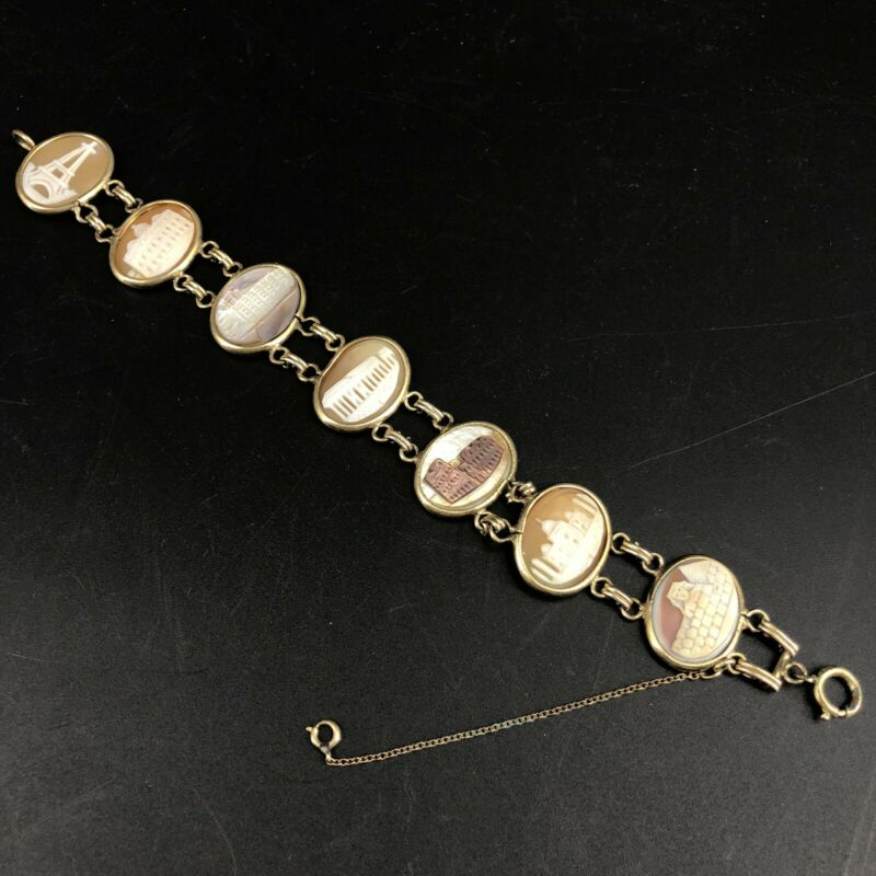 Antique 7 Wonders Of The World Cameo Bracelet 12K Gold Filled Carved Shell 8""
