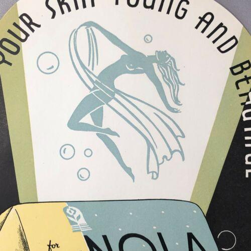 1930s NOLA SOAP Large Box LABEL ART DECO Vintage 8-inch Original Advertising