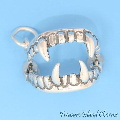 Movable Fangs Vampire Teeth Halloween 3D 925 Solid Sterling Silver Charm - Halloween 3 Opening