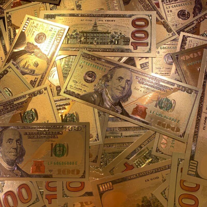 ✰ GOLD $100 BILL ✰ LOT OF 1 ✰NOVELTY GIFT 24K ✰BANKNOTE CASH NOTE CURRENCY LEAF✰