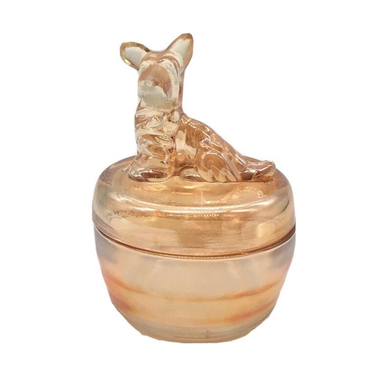 Vtg Jeannette Terrier Dog Covered Candy Powder Dish Bowl Luster Marigold Trinket