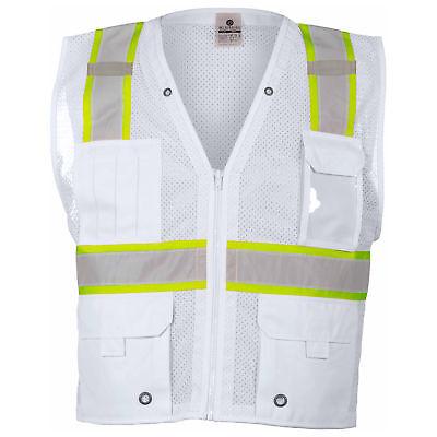 ML Kishigo Non-ANSI Reflective Mesh Safety Vest with Pockets, White