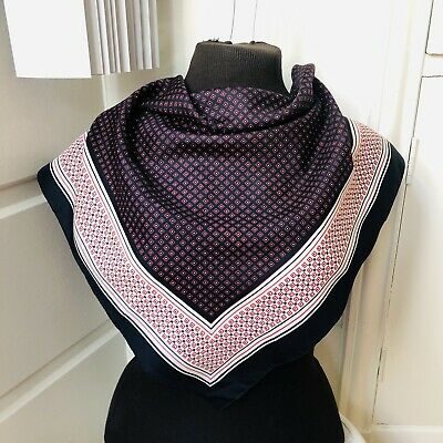 Vintage Scarf Styles -1920s to 1960s Vintage Berkshire Geometric Print Blue Red & White 100% Polyester Square Scarf  $9.99 AT vintagedancer.com