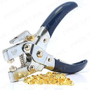 QUALITY HEAVY DUTY EYELET PLIERS+EYELETS Leather Belt/Fabric Hole Punch Cut Tool