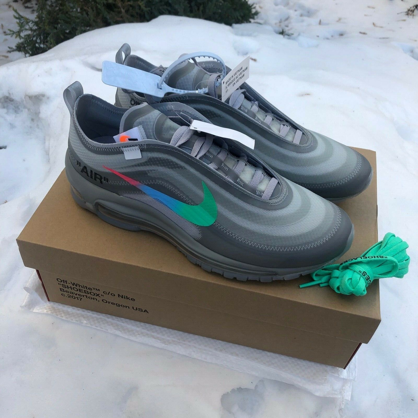 Virgil Abloh's Off White X Nike Air Max 97 OG Black Men's Size AJ4585 001 Copuon
