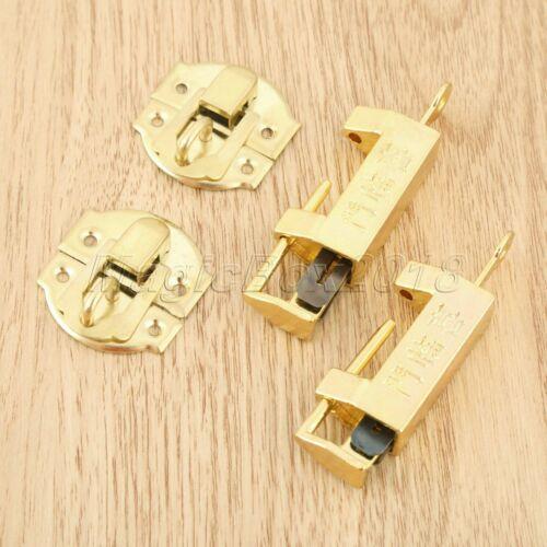 Antique Gold Suitcase Jewelry Box Latch Clasps w// Chinese Old Padlock 10pcs//set