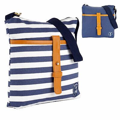 Umhängetasche Handtasche Schultertasche Damentasche Maritim Marine blau weiß