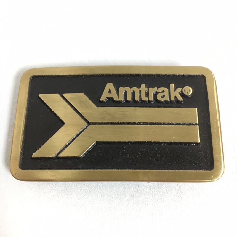 NEW Old Stock - AMTRAK Railroad Train Brass Belt BUCKLE Heavy, made in USA