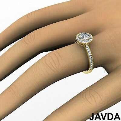 Halo Milgrain Pave Bezel Setting Round Diamond Engagement Ring GIA E VS1 1.22Ct 7