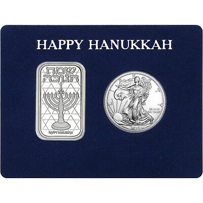Happy Hanukkah Silver Bar & Silver American Eagle 2pc Box Gift Set
