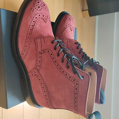 NEW Trickers Stow Country Boot Red Suede UK8