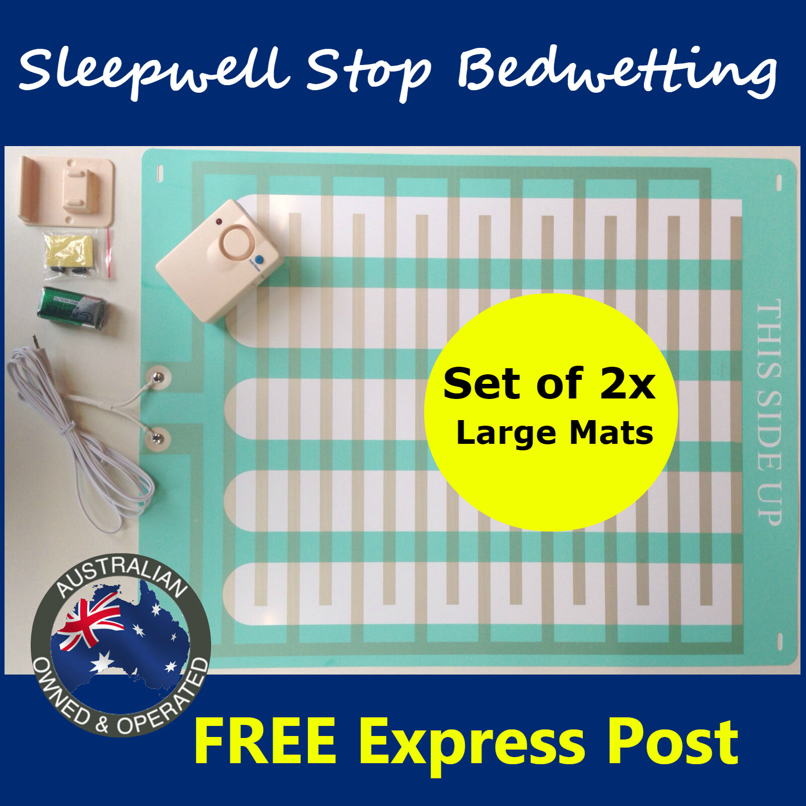 Bed Wetting Mattress Alarm LARGE -Twin Pack- Bedwetting Enur