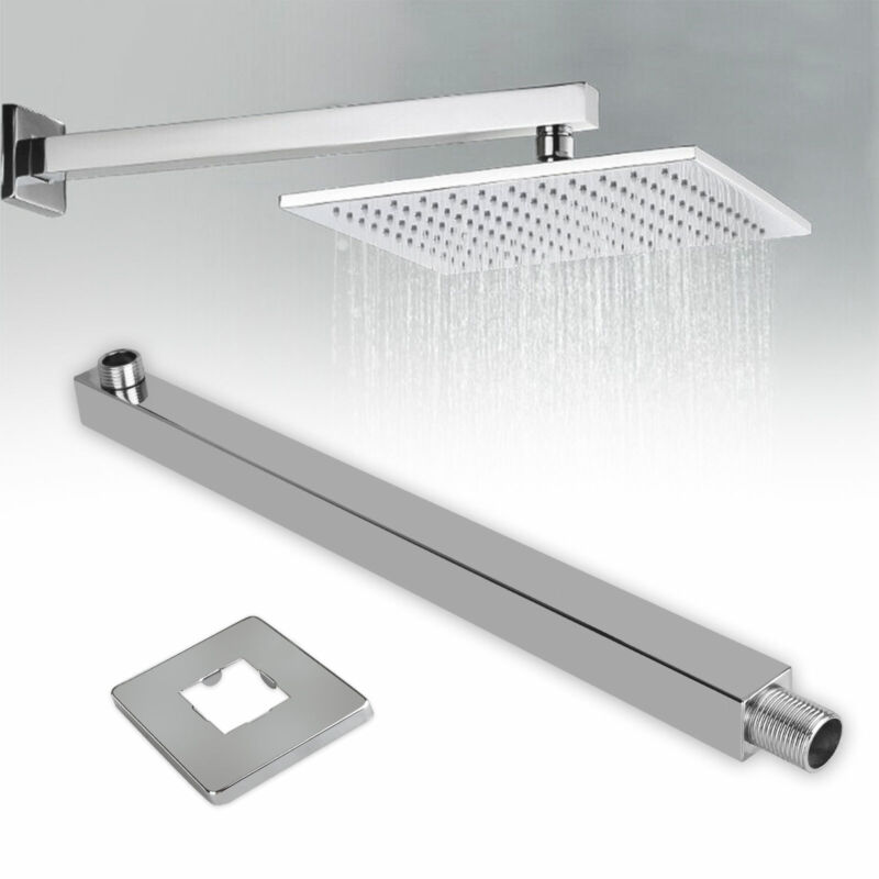 16-inch Stainless Steel Square Rainfall Shower Head Extension Arm Wall Mounted