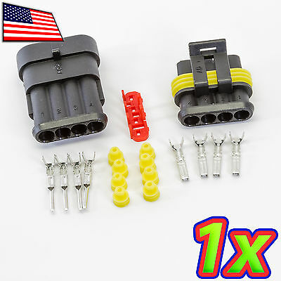 1x 4p 1 X 4 Pin Waterproof 16-20awg Rugged Automotive Connector Ip67