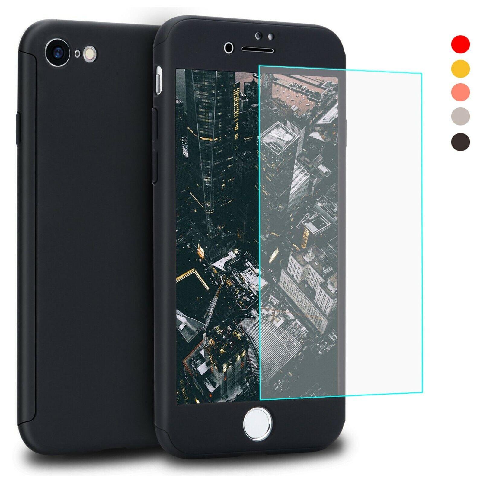 360 Grad Hülle iPhone 7 / 8 Plus Slim Handy Schutz Case Full Cover Glas Folie