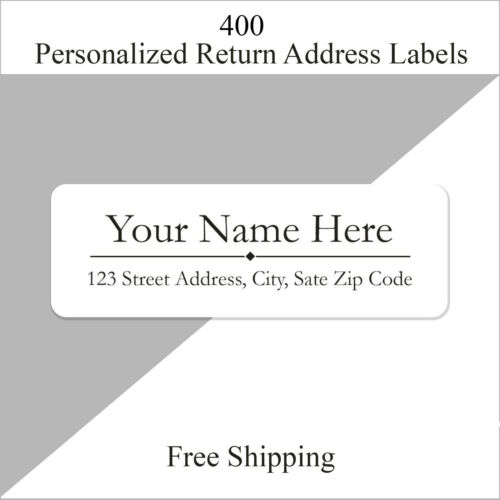 400 Personalized Return Address Labels / Custom Printed 1/2 Inch x 1 3/4 Inch