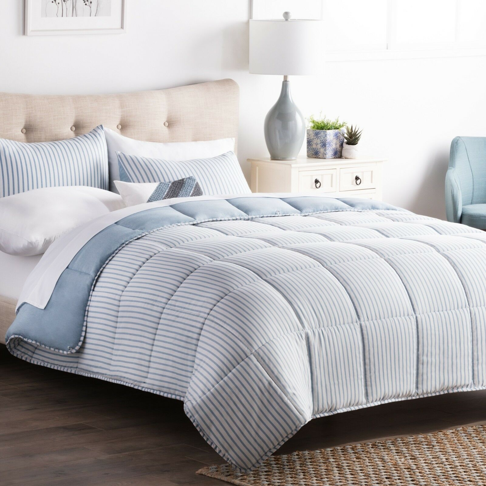 BROOKSIDE Reversible Striped Chambray Comforter Bed Set with
