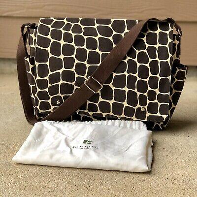 Kate Spade leopard Animal print diaper Laptop Shoulder Travel Bag NWOT W/ Cover