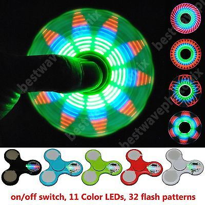 2x 5x LED Light Up Fidget Spinner Finger Sipnner Fidget Toy with 32 Patterns
