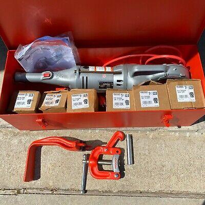 Ridgid 700 Pipe Threader T2 Electric Handheld Machine With Die Heads Case