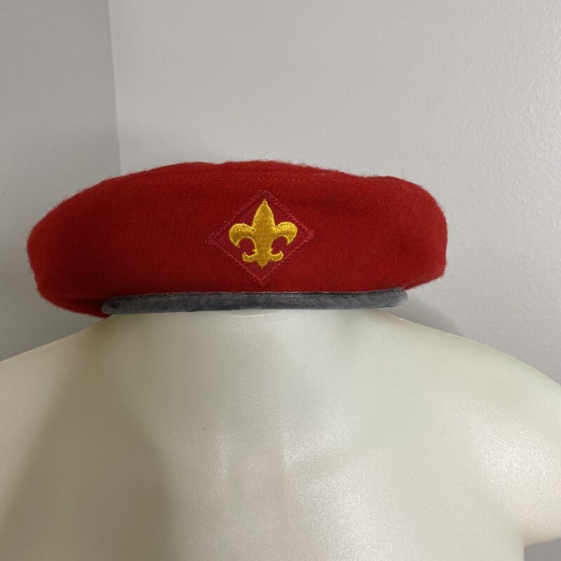 Vintage Official Headwear BSA Boys Scouts of America Red Wool Beret Hat LARGE