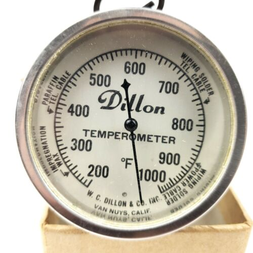 VINTAGE DILLON TEMPEROMETER Industrial thermometer 200F-1,000F Made in USA