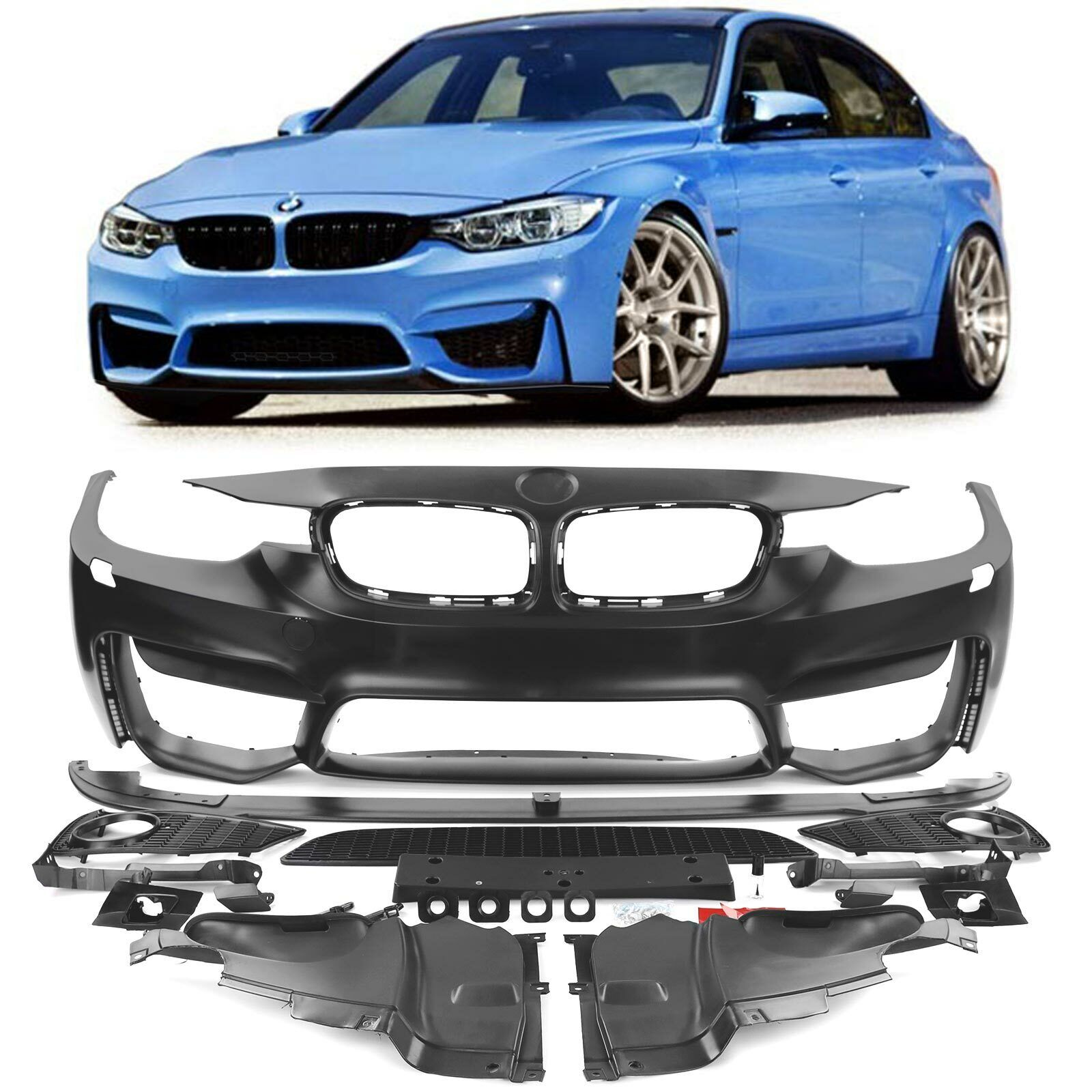 Brand New Front Bumper Primed No Pdc With Washer Hole M-Sport Bmw 3 F30 2012