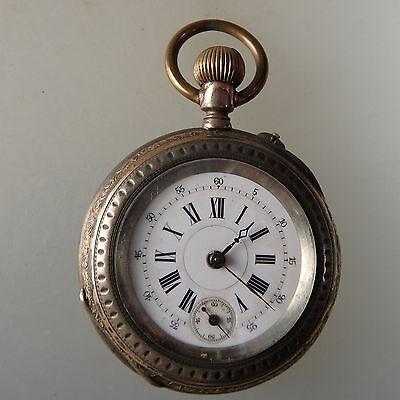 Kleinere Taschenuhr schöner Uhrenglasdeckel Silber um 1900 (39488)