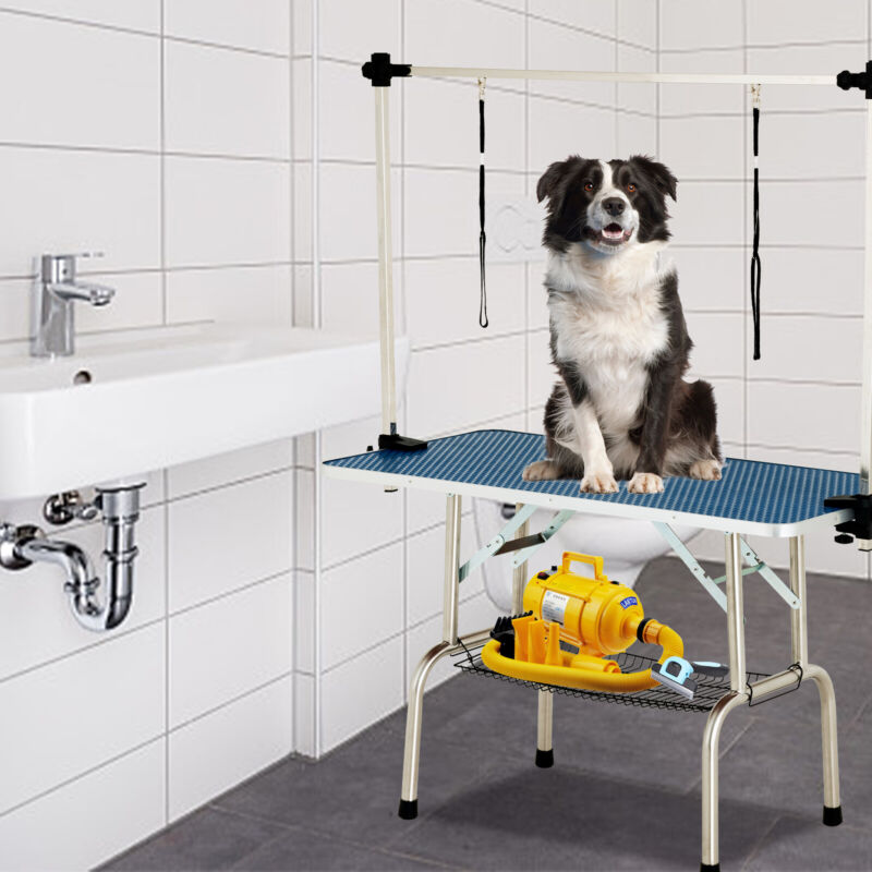 """48"""" Dog Cat Pet Grooming Table Portable Folding Adjustable Noose Arm Mesh Tray"""
