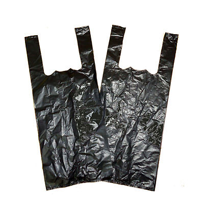 100 x Plastic Carrier Bags Bottle Vest Style Black 8'' x 13'' x 18''