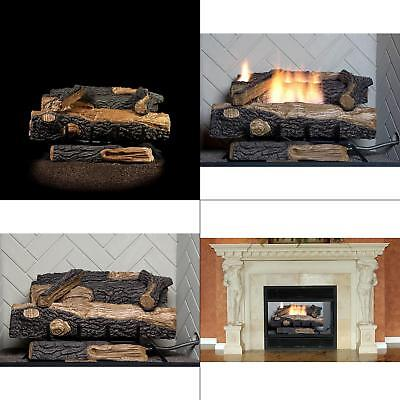 24 in. Vent-Free Natural Gas Fireplace Logs Thermostat Control Heating Insert Vented Natural Gas Fireplaces