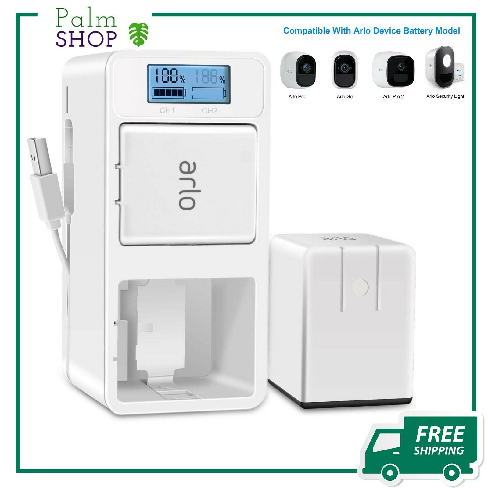 Arlo Rechargeable Battery Charger Station Dual Batteries type C USB Cable New