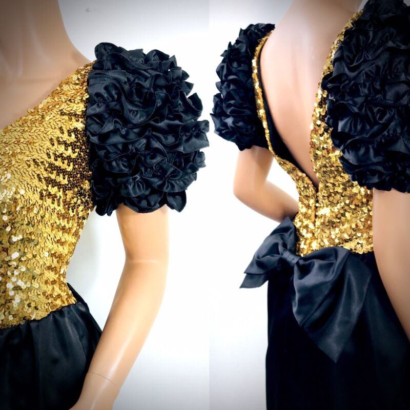 vintage 80s gold sequin black puffy sleeve prom dress formal long sz 8