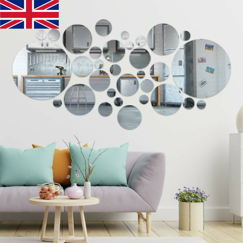 Home Decoration - 32PCS Circle Mirror Tile Wall Sticker Art Decal Stick On Bedroom Home Art Decor