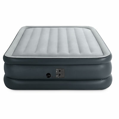 Intex Queen Dura Beam Essential Bed Air Mattress w/ Built-in Electric Pump, Gray