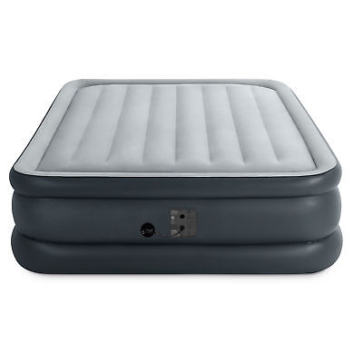 Air Mattress - Intex Queen Dura Beam Essential Bed Air Mattress w/ Built-in Electric Pump, Gray