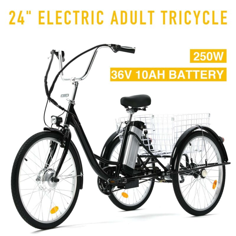 """24"""" Adult Electric tricycles for women 250W f36V 10AH Lithiu"""