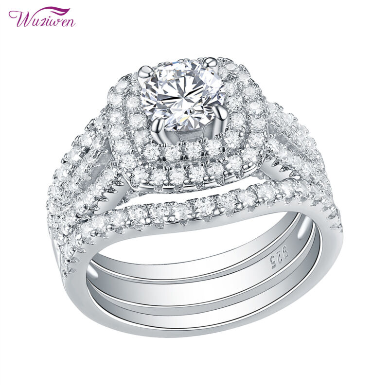 Wuziwen 3pcs Wedding Engagement Ring Set 3.5ct Round Aaaa Cz 925 Sterling Silver