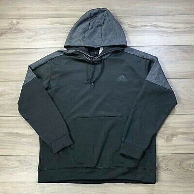 Adidas ClimaWarm Men's Black Gray Long Sleeve Hoodie Athletic Sweater Size XL