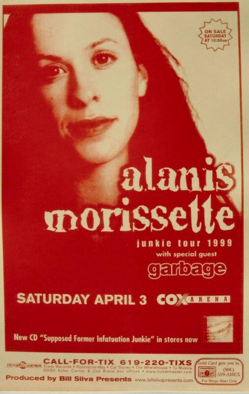 "ALANIS MORISSETTE / GARBAGE SAN DIEGO CONCERT ""JUNKIE TOUR 1999"" POSTER"
