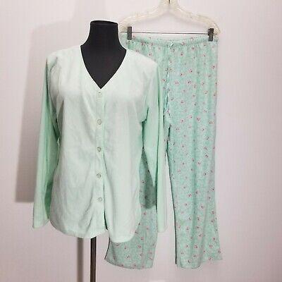 Liz Claiborne Womens Size M Pajama Pants Top Set Plush Satin Lined Mint Floral - Lined Satin Pajamas